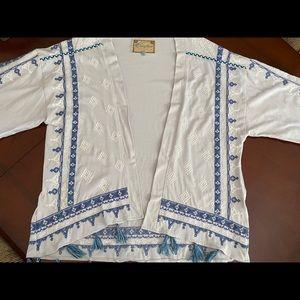 Living Planet cotton embroidered kimono w/ tassels